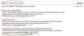 Suche Google Befehl allinurl