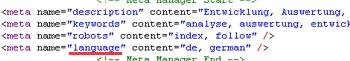 Information zur Sprache in den Kopfdaten einer Website
