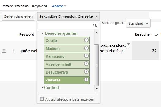 Zielseite für Keyword anzeigen lassen