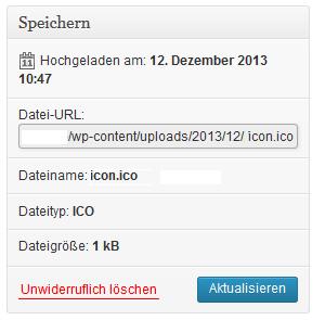 Icon Datei in der Mediathek hinterlegen und Pfad kopieren