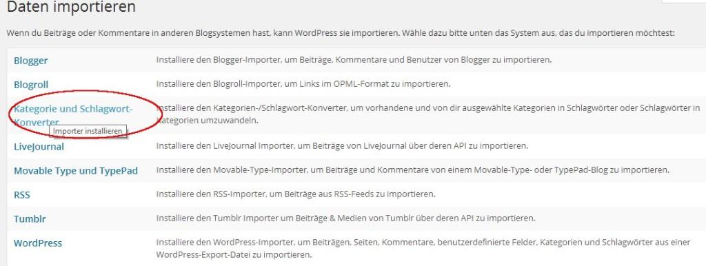 Daten importieren >> Kategorie und Schlagwort Konverter