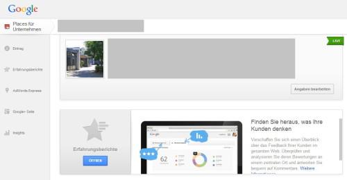 Die neue Übersicht von Google Places.