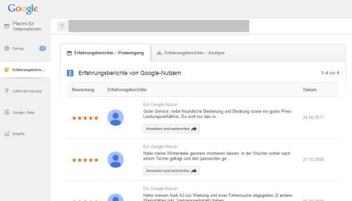 Kundenmeinungen verwalten über Google Places