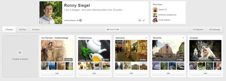Öffentliche Boards bei Pinterest.