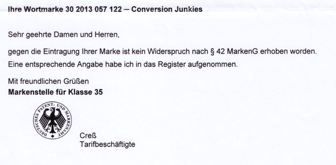 Eingetragene Wortmarke Conversion Junkies