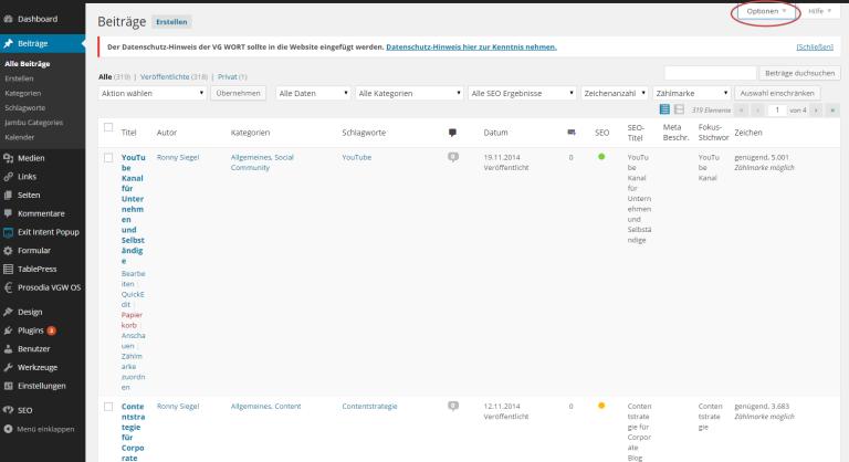 In die Länge gezogene Beitragsübersicht in WordPress aufgrund vieler Plugins.