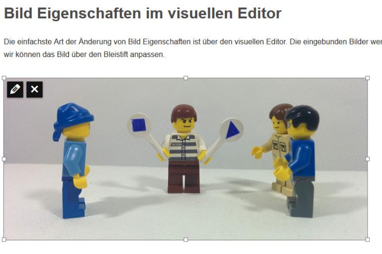 Bei Klick auf das Bild im visuellen Editor erscheinen die bearbeiten und löschen Funktion.