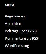 Das Meta Widget von WordPress inklusive Registrierungsmöglichkeit