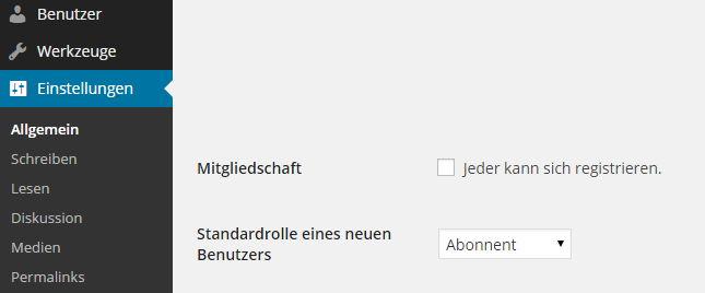 Einstellung WordPress - Mitgliedschaft
