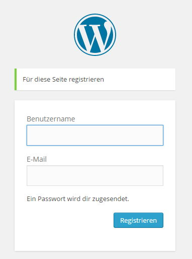 Registrierungsseite von WordPress Blogs
