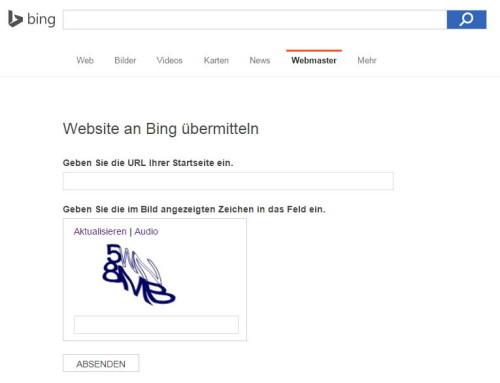 Anmeldeseite für neue Websites bei Bing