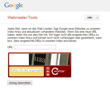 Anmeldeseite für neue Websites bei Google