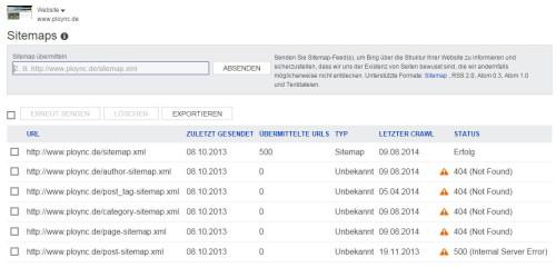 Übersicht XML Sitemaps in Webmastertools von Bing