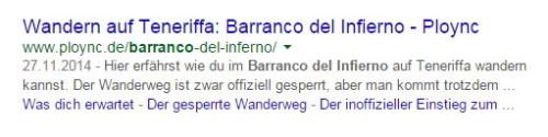 Fünfte Zeile in den Suchergebnissen von Google am Beispiel von ploync.de