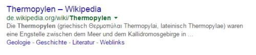 Fünfte Zeile in den Suchergebnissen von Google am Beispiel der Wikipedia