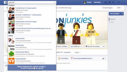 Facebook Gewinnspiel Gruppe finden