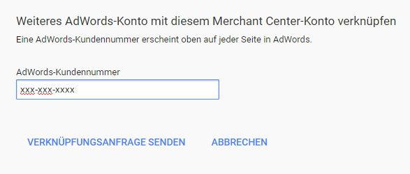 Adwords Konto mit Merchant Center verknüpfen