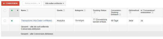 Conversion aus Google Analytics in Adwords
