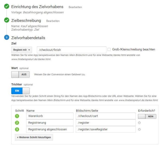 Hier ein Beispiel einer Zielconversion mit Trichtervisualisierung aus dem System Shopware