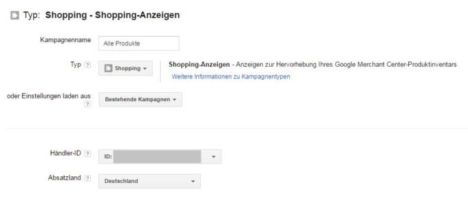 Shopping Kampagne Basiseinstellungen