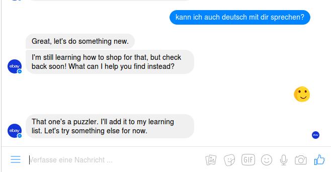 Der Ebay Shopbot bleibt stets höflich.