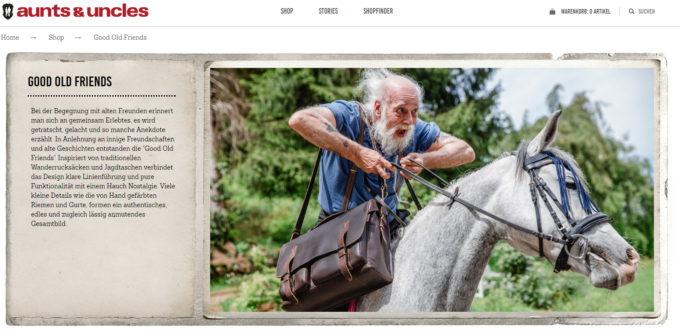 Beispiel für Storytelling: auntsanduncles.de